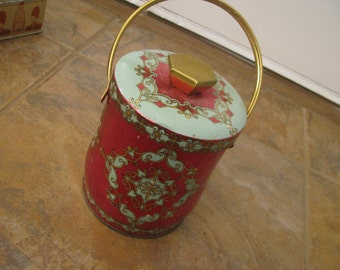 """Murray Allen confections tin """"Morocco"""" hot pink and ice blue"""
