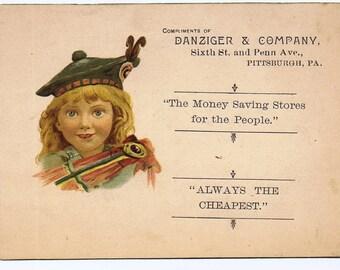 Antique Vintage 19th century Scottish Child Tam Costume Business Card Pittsburgh PA Paper Ephemerra
