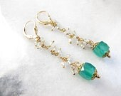 Apatite Earrings with Green Onyx and Vintage Filigree Caps