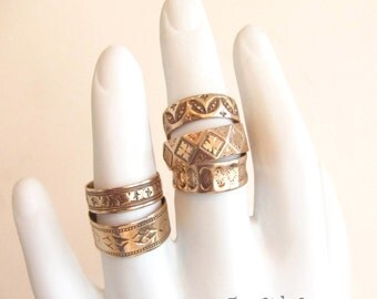 Wide gold band, Antique gold wedding band, gold stacking ring