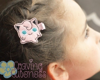 Pokemon Inspired Hair Clip, Badge Reel, Planner Accessory, or Book Mark - Meet Jigglypuff