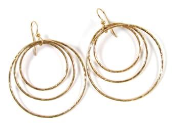 Triple Hoop Earrings, Big Gold Hammered Hoops, Circles, Elegant, Christmas Gift Idea for Her, Minimalist Jewelry, Boho Fashion, Textured