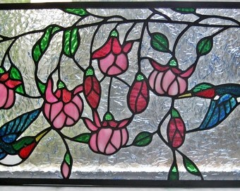 Stained Glass Panel  Hummingbirds and Fuschia  19.75 in x 10,75 in