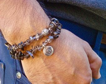 Men,s Spiritual Healing Convertible Necklace/Bracelet with Semi Precious Smoky Quartz, a Yin Yang Bali Charm - Free Spirit Man Bracelet