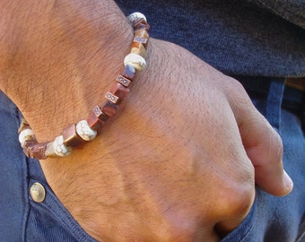 Men's Spiritual Healing Protection, Wisdom and Patience Bracelet with Semi Precious Brown Fancy Jasper, White Turquoise Howlite, Copper