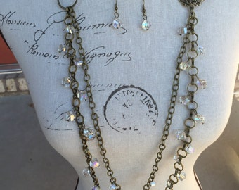 Long necklace in antique brass and crystals, one of a kind, great Christmas present