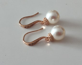Rose gold pearl earrings, wedding jewelry, dangle earrings, bridesmaid jewelry,  Ivory pearl earrings