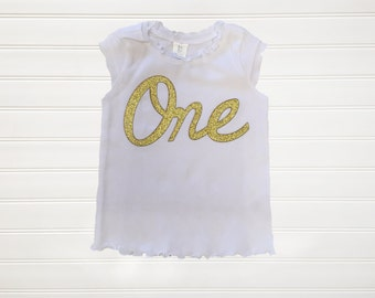 Gold Number One Cap Sleeve Shirt Custom Top
