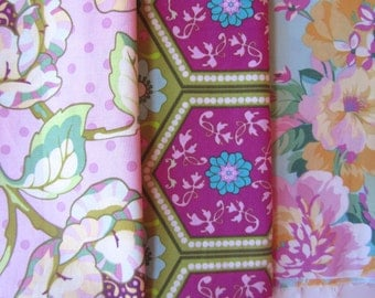 3 Modern Floral Prints, Destash Quilting Fabric, Fine Quilting Fabric