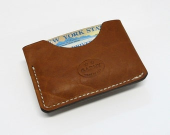 GARNY No.3 - Minimalist Leather Wallet -Whiskey Colored Buffalo  - Card Case - - bl