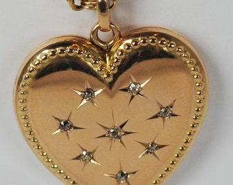 ON SALE Victorian 14kt & Mine Cut Diamond Heart Locket