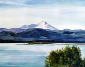 Mount Baker from Harborview Park - Original Plein-air Watercolor - Archivally Matted and Mounted