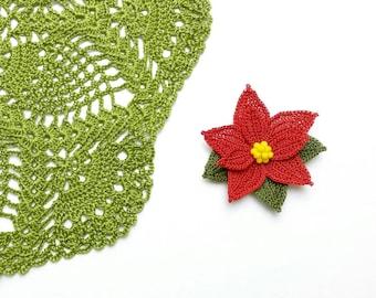 Brooch-Poinsettia Flower Handmade Luxury  Crystal Beadwork Crochet Statement Brooch, Christmas Flower, Nature Inspired, Fiber Jewelry