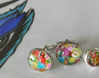 Sale was 17 now 15uk Eat the Music - Kate Bush Inspired faux Milli Fiori Round silvertone Cuff links with tie tack.