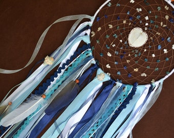 Hart of the Ocean- Large Dream Catcher- Dream Catcher with a real Heart Conkle Shell and beautiful Ribbons