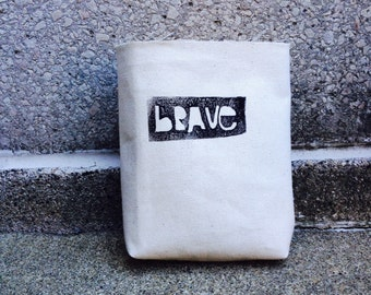 chalkbag, chalkbags, BRAVE, linoprint, handcarved, blockprinted, rock climbing chalkbag, 1-3day order