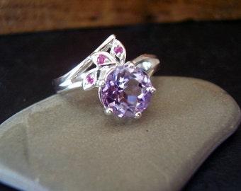 Jasmine - Genuine Amethyst & Ruby Ring, 925 Sterling Silver, Alternative Wedding, February Birthstone, Boho Gypsy Fest PLUR, Gifts For Her