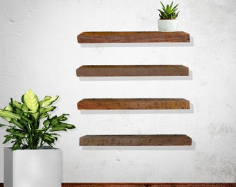 Floating shelf, reclaimed wood, 2x6""