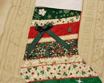 Christmas Stockings Handmade Quilted Vintage Victorian Traditional Cottage Chic Country