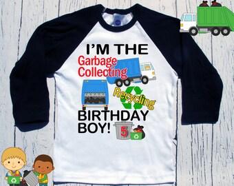 Garbage Truck birthday shirt garbage truck bday | party themed |birthday | shirt | baseball | raglan style