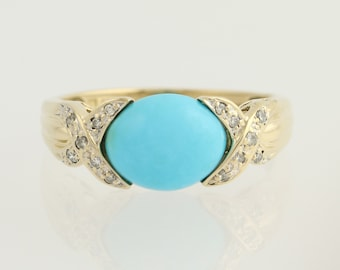 Turquoise and Diamond Ring - 14k Yellow & White Gold .14ctw N1133