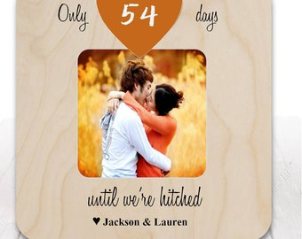 Engaged Frame Personalized Engagement Frame Newly Engaged Gift, Engagement Gift Wedding Countdown Frame
