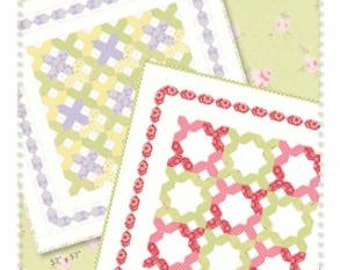 """SALE Little Stitches Quilt Pattern, #249, by Acorn Quilt Co., 57""""x57"""" , 2 Patterns, Features Brenda Riddle Fabrics"""