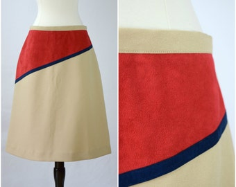 Vintage Maggie R. retro tan, red and blue skirt / ultrasuede detail skirt