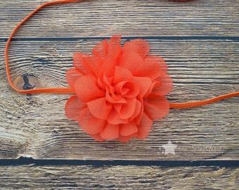 Orange headband, baby elastic headband, baby headband, infant headband, newborn headband, elastic headband, baby girl headband, hair clip