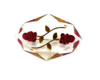 Vintage Flower Brooch, Red Rose Brooch Pin, Geometric, Reverse Carved Lucite Jewelry, Roses Pin, 1950s Jewelry