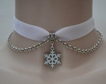 White SNOWFLAKE Charm With Chain  -  WHITE 16mm Velvet Ribbon Choker Necklace -mm... or choose another colour velvet, hand made to order :)