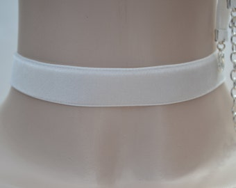 Classic IVORY CREAM Velvet 16mm Ribbon Choker Necklace-sv... or choose another colour, lots of options, hand made to fit :)