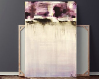 Purple Painting on Canvas, Large Abstract Original Painting, Minimalist Art, 36x24 by Heather Day Paintings