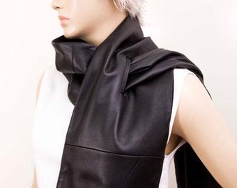 Unisex mens scarf genuine lambs LEATHER unisex long  scarf in black.