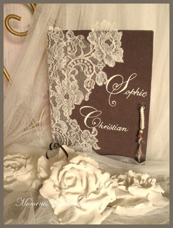 Very nice guestbook lace french of Calais wedding chic elegant wedding journal linen brown white or ivory lace