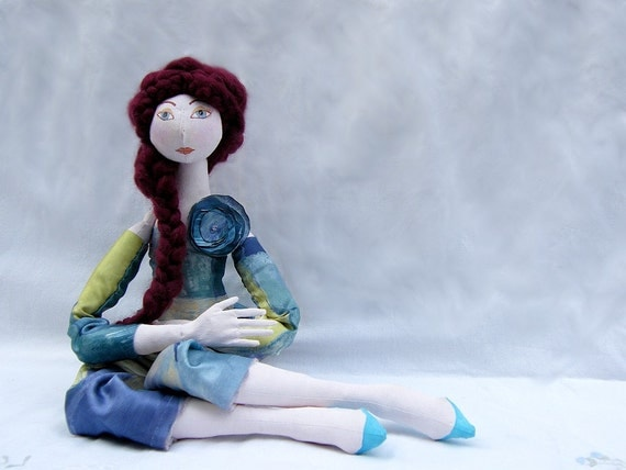 fairy doll  ART DOLL Jointed soft doll with red hair and spring style cloth.