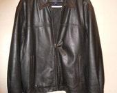 Black Leather Jacket Structure Zips Size Large