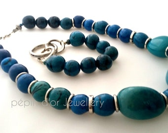 Blue Necklace - Turquoise Necklace -  Teal Necklace - Eco Necklace - Shades of Blue - Talisman