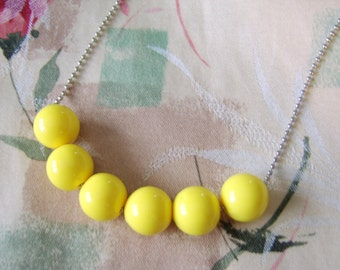 Yellow Beaded Necklace, Women's, Teen, Chunky Necklace, Lemon, Yellow Necklace, Bubblegum Necklace, Gumball, Big Bead, Plus Size