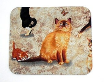 Mouse Pad - Fabric mousepad - Cats in black, brown and orange - Home office / computer / Electronic