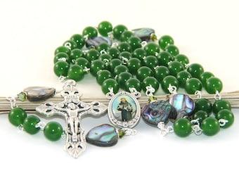 Saint Francis of Assisi Rosary Beads, Nephrite Jade & Paua Shell Beads