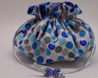 Blue , Gray , polka dot with Blue satin inside