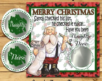 Christmas Scratch Off game Cards Christmas Party Game Santa scratch tag Family Party Scratch off game Happy Holidays 12 Precut Printed