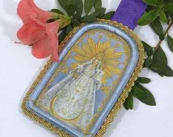 Vintage Reliquary Detente Medal Scapular Lord of the Miracles Blessed Virgin