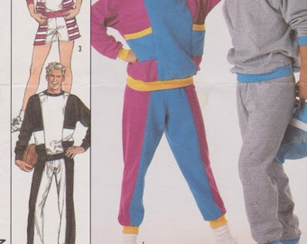 Men's/Women's 1980's Sewing Pattern Simplicity 8959 Activewear Sweat Pants Sweatshirt Size Medium Bust 38-40  UNCUT