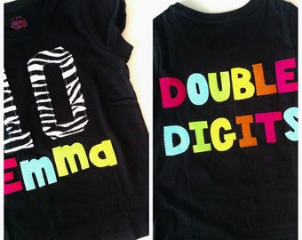 Personalized front, back, Neon double digits fun for 10 years - personalized applique SHIRT, girl tween, zebra birthday number name on front