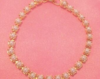 Vintage Gold Tone Faux Pearl Tennis Bracelet