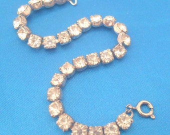 Sterling Silver Prong Set Rhinestone Tennis Bracelet