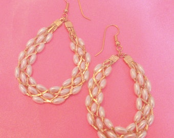 Vintage Woven Faux Pearl and Gold Chain Drop Hoop Pierced Earrings