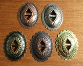 "2-1/4"" Oval  Conchos - 10 pcs - Choose Antique Copper, Antique Gold, Antique Silver or Gold Tone - Native American / Western Craft Supply"